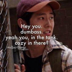 "Glenn's first lines on ""The Walking Dead"". Glenn is one my favorites.<<<Yup Glenn and Daryl are my all-time favs. Glenn The Walking Dead, The Walk Dead, Walking Dead Quotes, Walking Dead Zombies, Best Tv Shows, Best Shows Ever, Favorite Tv Shows, Glenn Y Maggie, Steven Yeun"