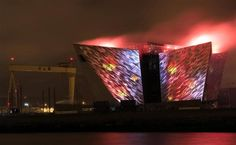 The Titanic centre in Belfast is illuminated by digital projections and pyrotechnics as part of the city's festival of events to commemorate the 100th anniversary of Titanic's fateful maiden voyage, April 7, 2012.