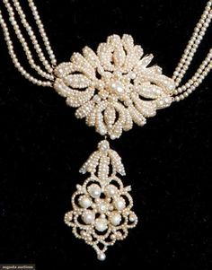 Seed pearl and gold  large center flower and drop necklace  early 19th century