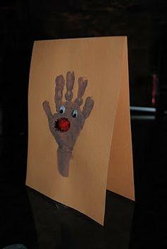 toddler craft hand print Rudolph Christmas Card