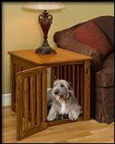 Large Oak Wooden Dog Crate Amish Made - Wood Dog Crate Furniture, Decorative dog Crates * Learn more by visiting the image link. Dog Crate End Table, Wood Dog Crate, Wire Dog Crates, Dog Crate Furniture, Large Dog Crate, Furniture Movers, Wood Crates, Table Furniture, Furniture Ideas