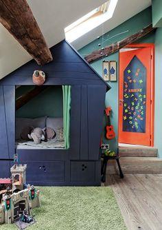Kid Space Stuff ~ kids indoor playhouse painted navy blue