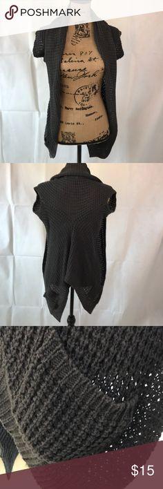 Gray, F21 Crochet Shrug/ Vest, Sz S Cotton acrylic blend Forever 21 Tops