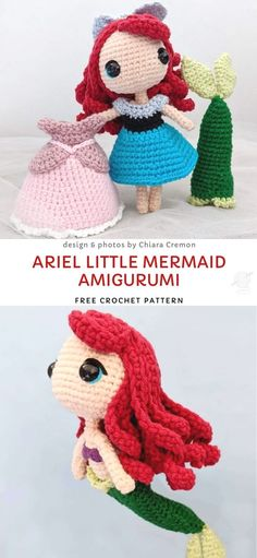 Ariel Little Mermaid Amigurumi Free Crochet Pattern Sweet Fairytale Crochet Amigurumi Dolls. Ariel is a strong, independent and brave Disney character, therefore she's the perfect role model for children. And we all remember watching the. Crochet Easter, Cute Crochet, Crochet Crafts, Crochet Projects, Knit Crochet, Beautiful Crochet, Patron Crochet, Crocheted Toys, Booties Crochet