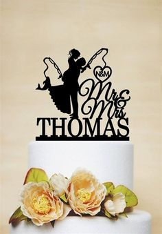 Fishing Cake Topper,Mr & Mrs Cake Topper With Last Name,Wedding Cake Topper,Custom Cake Topper,Hooked on Love,Initials Cake Topper- C169 Dear friends, Thanks for your interest in my cake toppers. All…MoreMore  #WeddingCakeDecorating