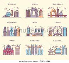 Icons Chinese major cities flat style. Shanghai and china, Beijing and Guangzhou, Hong Kong and Dalian, Tianjin and Harbin, Chongqing and Hangzhou illustration