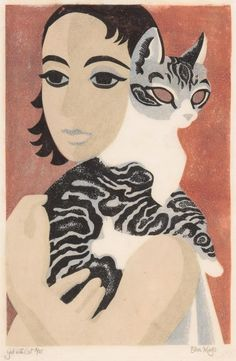 Dame Eileen Rosemary Mayo (British, 1906-1994) - Girl with Cat - Colour linocut