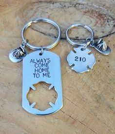 Firefighter Keychain Set Hand Stamped by moeshandcrafted on Etsy