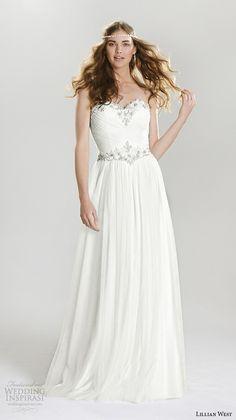 lillian west spring 2016 bridal beautiful strapless sweetheart neckline jeweled sweetheart neckline trim modified a line wedding dress style 6411