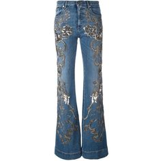 Roberto Cavalli metallic detailing flared jeans (64.030 ARS) ❤ liked on Polyvore featuring jeans, blue, roberto cavalli jeans, blue jeans, patterned jeans, metallic jeans and flared jeans