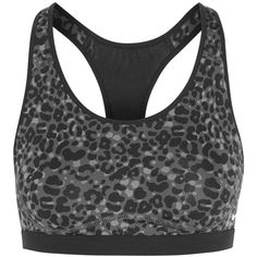 Nike Pro Fierce printed Dri-FIT stretch-jersey sports bra ($23) ❤ liked on Polyvore featuring activewear, sports bras, anthracite, nike sports bra, nike sportswear, nike activewear, nike and stretch jersey