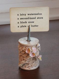Vintage Spool Placecard or Photo Holder