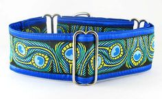 Peacock Pageantry, a martingale or snap-buckle dog collar shown with a custom, Peacock woven Jacquard trim.: The Regal Hound - Unique fashionable designer martingale and buckle dog collars, from cute to fancy, humane and soft choke for all canine breeds