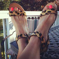 Animal print sandals and fluro nail polish. Perfect combination!