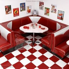 Retro diner booths for one's kitchen. Holy. Crap.