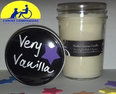 Very Vanilla Organic Soy Candle!      Eco friendly, clean and slow burning. Get 43 hours of burn time out of our 8 oz candles! A portion of the proceeds are donated to help the disabled. For more information about Shelby and her candles visit us at www.shelbysjournecandles.com or like us on Facebook http://www.facebook.com/pages/Shelbys-Journey-Candles/316453241762830