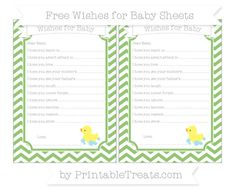 Pistachio Green Chevron  Baby Duck Wishes for Baby Sheets
