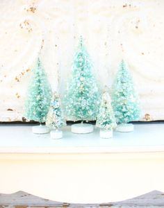 five glittered bottlebrush trees in aqua  'a by katesCottageShop, $17.50