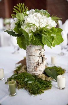 table decoration wedding rustic moss bed birch bark wrapped in flower vase - Tischdeko - Vase ideen Birch Centerpieces, Rustic Wedding Centerpieces, Wedding Table, Wedding Decorations, Table Decorations, Wedding Rustic, Deco Floral, Arte Floral, Fleur Design