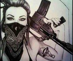 Gangsta girl gas mask and all)) Gangsta Tattoos, Chicano Tattoos, Body Art Tattoos, Girl Tattoos, Sleeve Tattoos, Tatoos, Arte Dope, Dope Art, Dope Kunst