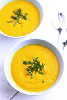 Carrot Ginger Curry Soup--Because of the creaminess and texture of this velvety soup, kids who are adverse to carrots might even like it.
