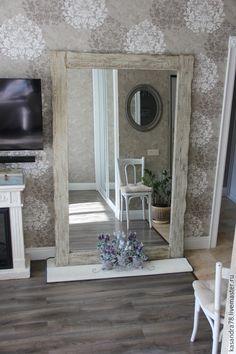 Купить Большое напольное интерьерное зеркало в состаренной деревянной раме - зеркало, большое зеркало