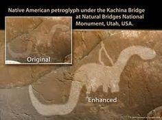 Indian petroglyph in Utah of a man riding a dinosaur.