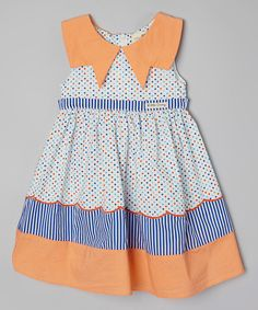 Little Anmy Blue & Orange Dot & Stripe Dress - Toddler & Girls | zulily