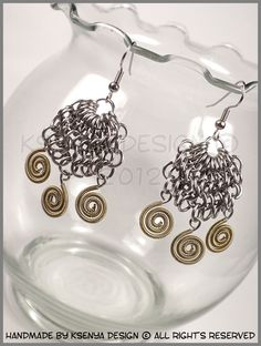 Illyricum Brass - unique chainmaille earrings. #jewelry #ksenyajewelry #earrings #chainmaille #wirejewelry