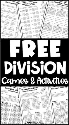 Division worksheets with matching division games - practice with the worksheets then play a matching game! Maths Fun, Fun Math Activities, Math Games, Teaching Division, Division Games, Activity Sheets, Matching Games, Fourth Grade, Math Lessons