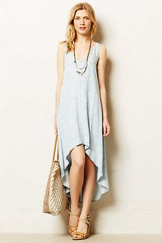 Chambray Maxi Dress - anthropologie.com.  I have Swedish Hasbeens, Basic dress pattern looks similar to: M 6964.  I can embroider sleeve holes and neckline.  Fabric is diamond print on Tencel.