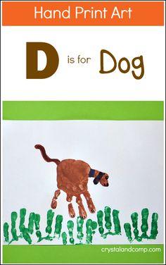 Hand Print Art: D is for Dog, adorable craft for letter recognition! @crystalandcomp #alphabetart