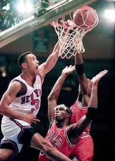John Starks dunks on Michael Jordan and Horace Grant