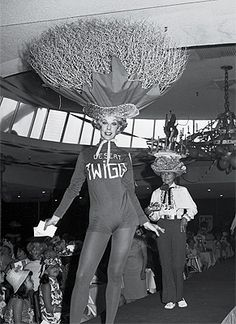 """""""Desert Twiggy"""" Barbara Salm tumbleweeded her way into first place in the Desert Circus Hat Parade in 1967."""