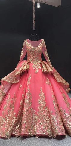 Ball Gown Plus Size Prom Dress Vintage Quinceanera Dress With Sleeve Prom Dresses Long With Sleeves, Unique Prom Dresses, Pink Prom Dresses, Plus Size Prom Dresses, Beautiful Prom Dresses, Quinceanera Dresses, Formal Evening Dresses, Royal Ball Gowns, Ball Gowns Prom