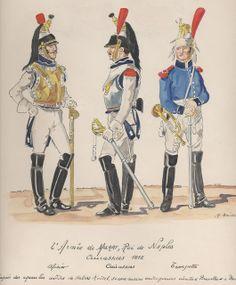Ufficiale, corazziere e tromba del rgt. corazzieri del la 2 armata di Murat