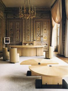 The interior of the Ministers office.. The desk has been used by the French Prime Ministers. Andrée Putman   Ministre de la culture Jack Lang  Paris   1984   Deidi-Von-Schaewen