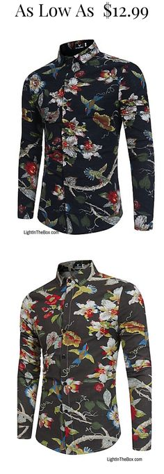 Vintage boho style floral -bird print men cotton shirt in brown and grey colours. Trendy! Like it ? Click to shop at $12.99 only.