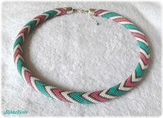 Mint pink and white pastel zigzags seed bead necklace elegant accessory handmade geometric zigzag pattern by Shinkabeads on Etsy