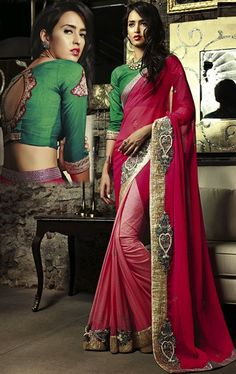 Picture of Dazzling Deep Pink and Peach Color Luxurious Saree