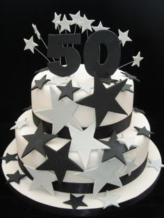 two tier black and white 50 cake