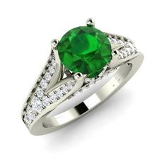 Round Emerald Engagement Ring in 14k White Gold with SI Diamond