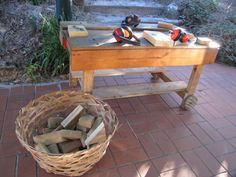 tinkering table - Greenhills Preschool in Melbourne. Margaret loves using real tools so much. We really need to set up a dedicated tinkering area.