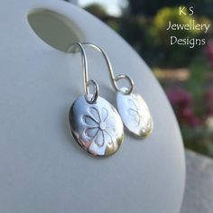 Stamped Daisies Sterling Silver Disc Earrings - Shiny Daisy Flower Jewellery £22.00