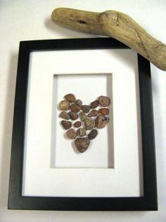 Handmade heart framed beach art