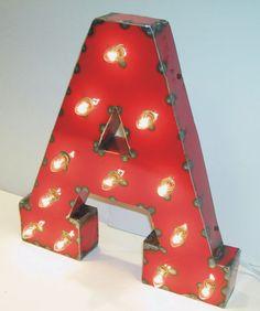 Red Metal Letters With Lights Vintage Industrial Metal Sign Letters & Shapes  Vintage
