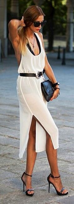Women's fashion | Belted slit white dress with heeled sandals