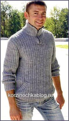 Пуловер вязаный спицами мужской с воротником «поло» - 27 Октября 2016 - Вязание спицами, модели и схемы для вязания на спицах