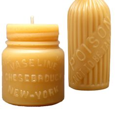 """Pollen Arts """"Vaseline"""" beeswax candle, $9; and Pollen Arts """"Poison"""" beeswax candle, $29, both at Cog & Pearl"""