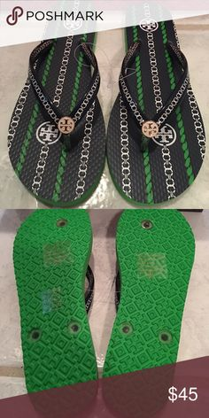 🎉Tory Burch 6 or 7 🎉 NWT Tory Burch Navy with gold embellishment at the toe flip flops. Can come with box. Please message me if you want the box and shopping. Ag. Perfect for Christmas. Get a jump start. Tory Burch Shoes